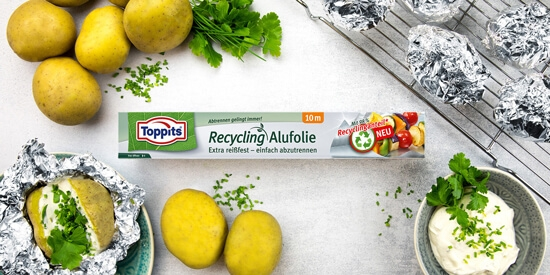 Toppits® Recycling Alufolie Doppelkraftwaben mit easy-cut System
